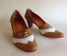JSG Vintage 1940s Inspired Tan & White Wing Tip Lace Up Brogue Shoe UK 5 EU 38