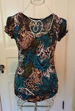 New! WORTHINGTON Stretch Top Sz S Teal, Green Black Blouse Abstract Floral Top