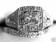 .85 Ct 14k Natural Princess Diamond Ring & Band Vintage Inspired Halo Fred Meyer