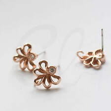2pcs Rose Gold Plated Brass Base Earring Post - Flower with Rhinestone (9155Z)