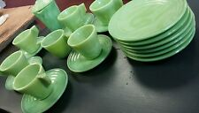 Vintage Childs agate green slag glass tea set