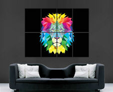 LION POSTER TRIPPY ABSTRACT ART COLOURS GIANT WALL PICTURE PRINT LARGE