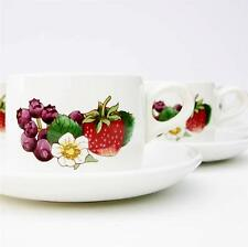 Vintage 1970s Wedgwood Gourmet Set Tea Coffee Cups Saucers Retro Fruits