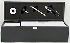 Wine Set Four Piece Black Wood Box Outset Chillware Corkscrew Cheese Knife