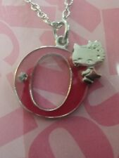 Sanrio Hello Kitty Alphabet Necklace - Letter O - Silver and Pink Color