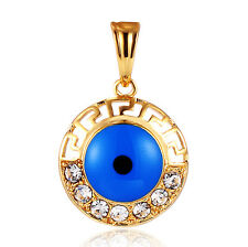Women Mens Evil Eye Pendant 18K Cubic Zirconia For Chain Necklace Blue Gift
