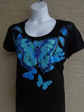 NWT Just My Size Graphic Scoop Neck Tee Shirt Black with Glitzy  Butterfly 5X