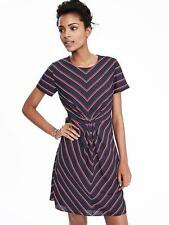 NWT Banana Republic 4 Short-Sleeve Striped Pleat Dress Preppy Navy #306207 $118