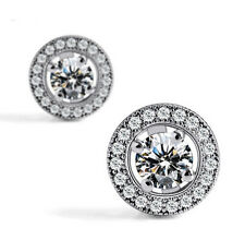 Women Delicate Earring Sliver Plated Nice Crystal Zircon Inlaid Ear Stud Jewelry