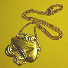 VINTAGE THEATRE MASK NECKLACE BRASS CHARM GOLD PENDANT CHAIN ACTING ACTOR DRAMA