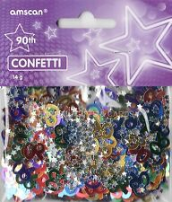 3 PACK 90TH BIRTHDAY CONFETTI / TABLE SPRINKLES MULTI COLOURS TABLE DECORATIONS
