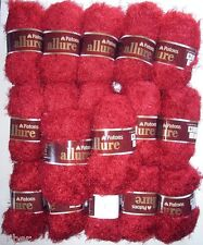 17 Skeins Patons ALLURE Eyelash Fur Yarn Garnet Red Discontinued