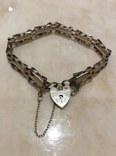 STERLING SILVER Bracelet Twisted Gate Link Heart Padlock Safety Chain 925