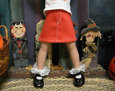 "Fits 14"" Betsy McCall Doll -Spooky Orange Pumpkin Jean Skirt w/ Fly Front -D1124"