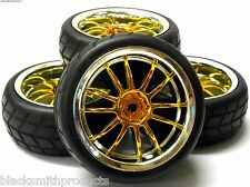 A250042 1/10 On Road Soft V Tread Car RC Wheels and Tyres 12 Spoke Yellow x 4