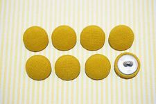 8 Cotton Solid Yellow Color Fabric Covered Buttons - 20mm