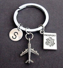 Personalized Passport traveling document, airplane keyring,Flight attendant gift
