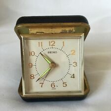 Vintage Retro 1970s Seiko Japanese Wind Up Travel Alarm Black Leatherette Clock