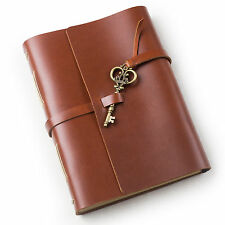 Ancicraft Leather Journal Diary with Vintage key A5 Blank Paper Red Brown Gift