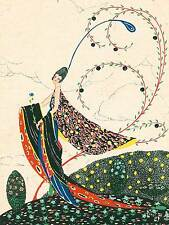 PAINTING WOMAN PEACOCK PATTERN DECO POSTCARD LONGLEY ART PRINT POSTER BB8829