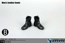 ZY Toys 1:6 Figure Accessories Men's Leather Boots Black ZY-16-23A