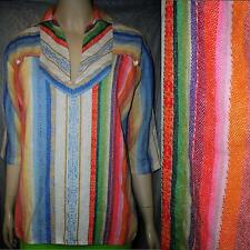 Vtg M/L~70s Vivid Colors Ethnic Cotton Weave 2 Pocket Hippie Boho Tunic Top~VGUC