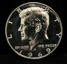 1969 Proof Kennedy Half Dollar 40% Silver GEM Cameo