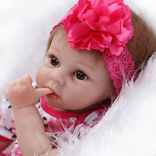 "22"" Lifelike Baby Girl Doll Full Silicone Vinyl Reborn Newborn Dolls w/ Clothes"
