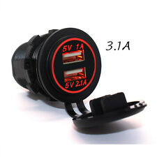 12V-24V RED LED Angel Eye Ring Car Charging Dual USB Socket Power Adapter Outlet