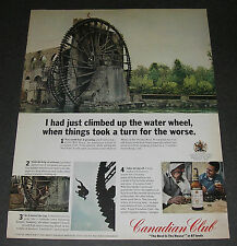 Print Ad DISTILLERY 1967 Canadian Club Whiskey Water Wheel Hama Orontes River.