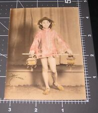 Young Girl Chinese Dress Asian Hat Lanterns 1930's COLOR Vintage Snapshot PHOTO