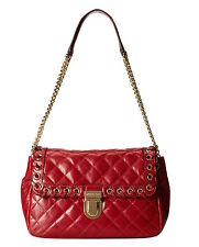 MICHAEL MICHAEL KORS HIPPIE GROMMET LARGE SLOAN QUILTED RED LEATHER SHOULDER BAG