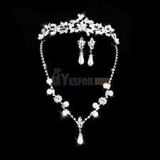 Bridal Wedding Prom Jewelry Crystal Rhinestone Necklace Earrings Crown Tiara Set