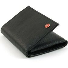 Alpine Swiss Mens Trifold Leather Card Case ID Window Black Pebble Leather