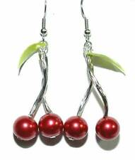 BEAUTIFUL RED GLASS PEARL CHERRIES DANGLE EARRINGS (D282)