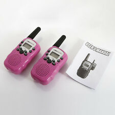 1 Pair Mini Walkie Talkie T-388 for Child UHF 400-470 Mhz Radio Gray & Pink