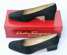 NEW - SALVATORE FERRAGAMO Navy Blue Suede Signature Pumps Shoes - UK 6B EU 39