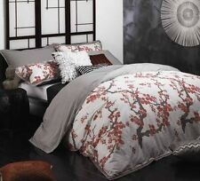 Logan and Mason SAKURA RED Cherry Blossom Double Bed Size Duvet Quilt Cover Set
