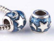 2pcs silver Moon and stars Painted big hole Beads European Charm Bracelet #A861