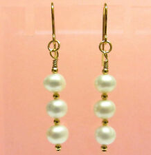 9ct Gold Drop Earrings with Genuine White Freshwater Pearls and Gold Beads