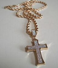 GOLD FINISH HIP HOP STYLE WITH GLITTER CROSS  PENDANT & CHAIN