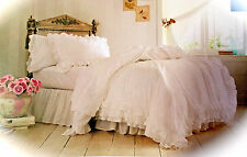 shabby chic white ruffle simply farmhouse bedding duvet cover set full queen
