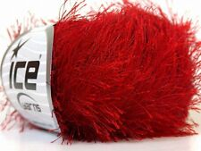Absolutely Red Eyelash Yarn Ice Solid Red Fun Fur 22762 50 gram