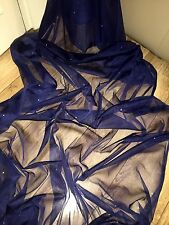 "1 MTR SOFT NAVY BLUE TULLE STUDDED BRIDAL/DECORATION NET FABRIC..45"" WIDE"