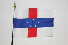NETHERLAND ANTILLES desk flag -- 4x6 inch on plastic staff with spear point