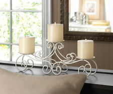 WHITE iron Scroll CANDELABRA 3 pillar Candle holder long table centerpiece