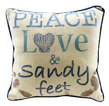 Peace Love & Sandy Feet - Decorative Throw Pillow Nautical Beach Coastal Decor
