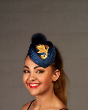Gold & Navy Stewardess Straw Fascinator - Made in Brisbane - BNWT