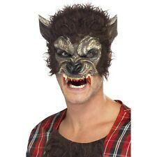 MEN'S HALF FACE WEREWOLF MASK WITH FANGS FANCY DRESS SCARY HALLOWEEN HORROR WOLF