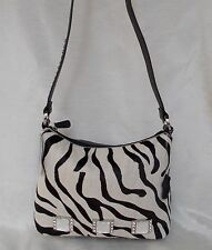 New Women's Ohh Ashley Genuine Hair Leather Bucket shoulder with Crystals Zebra